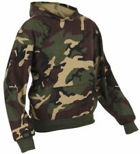 Kids Fleece Lined Sweatshirt Woodland Camo Hooded Pullover Rothco 6490