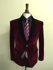 NEW DELUXE TWO BUTTON MENS BURGUNDY VELVET SPORTS COAT/BLAZER/JACKET