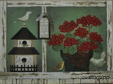 "LS1187 Red Geraniums Linda Spivey 12""x16"" framed or unframed print art birds"
