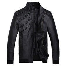 BIKER NEW Mens Fashion Leather Jacket Racing-Driver Coat Tops Motorcycle Jackets