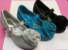 NEW Little Angel 623 GIRLS PAGEANT Elsa Blue Glitter rose flower wedge heel shoe