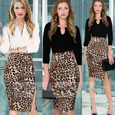 CHEAP FREE SHIP Womens Celebrity Casual Stretchy Leopard Pattern Pencil Skirt SR