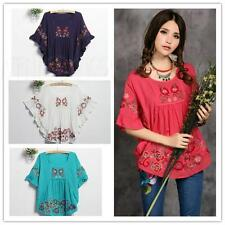 Mexican Ethnic Floral Shirt EMBROIDERED Hippie Women Blouse DRESS Bat Sleeve Top