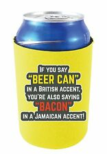 Coolie Junction Beer Can Bacon Accents Funny Can Coolie, Neoprene Collapsible