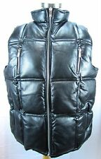 $99 SE:06 NEW NATION Black Faux Leather Puffer Vest Mens NWT