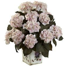 Hydrangea Silk Plant in Floral Planter in 2 colors by Nearly Natural | 23 inches