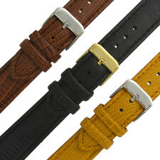 Leather Watch Band Strap Padded Lizard Grain Choice of Colours 16mm 18mm 20mm