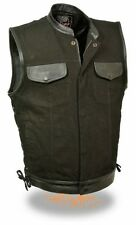 MEN'S MOTORCYCLE SON OF ANARCHY DENIM VEST LEATHER TRIMMING WITH SIDE LACES