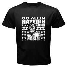 New GG ALLIN Hated In The Nation Punk Rock Icon Men's Black T-Shirt Size S-3XL