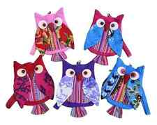 Women Ladies Girls Fashion Owl Patchwork Cotton Coin Purse with Wrist Strap - BN