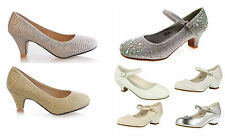 Girls Occasions Shoes Wedding Party Flower Size White Silver Small Heel Summer
