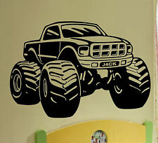 Monster Truck Giant Wall Art Stickers Mural, Large, Vinyl WA169 Personalise FREE