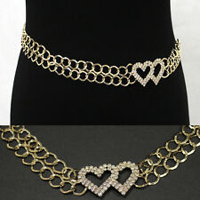 Bling GOLD Double Heart RHINESTONE CRYSTALS METAL CHAIN BELT Waist Wide S M L XL