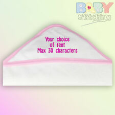 Your Choice Of Text Personalised Embroidered Pink Trim Hooded Towel Baby Girl