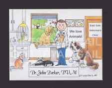 VETERINARY CLINIC Personalized Cartoon Person Picture Gift - Custom Matted Print