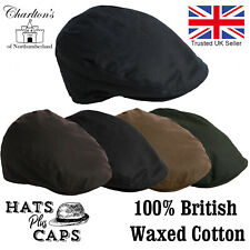 Mens Best Quality Traditional Waxed Flat Cap Cotton Waterproof Blue Brown Hat
