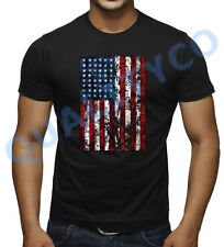Men's American Flag Black T Shirt Beast MMA US USA Workout Muscle Gym Tee