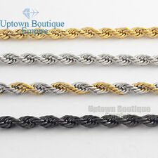 """24""""30""""Men stainless steel Gold Silver Black 5mm wheat rope Necklace Chain link"""