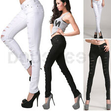 UK WOMENS STRETCH RIPPED SKINNY SLIM DENIM JEANS LEGGINGS TROUSERS SIZE 8/10/12