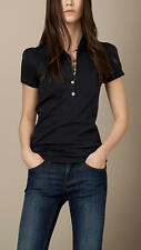 Burberry Brit Women CHECK PLACKET POLO SHIRT Color  Navy Blue
