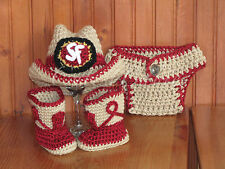 Baby Crochet San Francisco 49 ers Cowboy Hat, Boots & Diaper Cover. Photo Prop