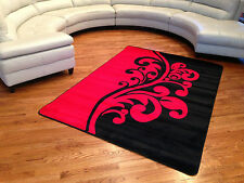 UP TO 8X10 BLACK RED MODERN ABSTRACT SOFT & PLUSH HEAT SET PILE NICE RUG !!!!