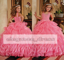 In Stock Pink 2015 Girls Pageant Dresses One Shoulder Crystals Party Ball Gowns