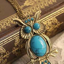 New Charm Vintage Turquoise Pendant Chain Necklace Owl Crystal Eyes Fad Jewelry