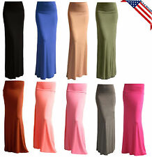 MAXI SKIRT SOLID LONG FOLDOVER WAIST FULL LENGTH RAYON SPANDEX