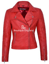 Model Ladies 1075 Red Quilted Biker Style Motorcycle Soft Napa Leather Jacket