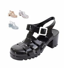 NEW WOMEN'S CHUNKY JELLY SLINGBACK SANDALS SUMMER RETRO BUCKLE STRAPPY SHOES