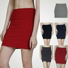 Solid Bodycon Straight Pencil Fitted Mini Skirt Stretchable Cotton Spandex S M L