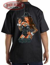 GANGSTER PINUP Girl  ~ Mechanics Work Shirt ~ Hot Babe ~ Tattoos & Black Roses