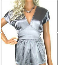 Ladies Party Evening Top Silver Satin Womens Size 12