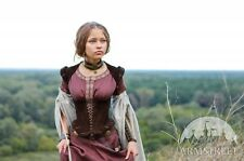 """Medieval Costume , Medieval Natural Suede Bodice Corset """"Archeress"""""""