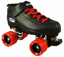 Riedell Dart Quad Roller Derby Speed Skates w/ 2 Pair of Laces Red & Black