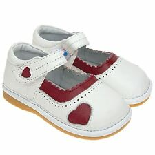 Girls Toddler Childrens Kids Real Leather Squeaky Shoes Matt White with Red Trim