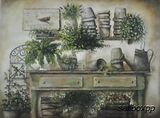 "BR271 Potting Bench Pam Britton 18""x24"" framed or unframed print art"