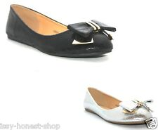 New Womens Bow Office Formal Slip on Ballerinas Pumps Shoes UK Size 3 4 5 6 7 8