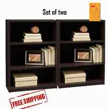 Bookcase Bookshelf 3-Shelf Multiple Color Wood Furniture Adjustable Shelves