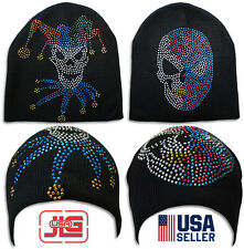 Women Men Unisex Crochet Knit Winter Warm Ski Hat Rhinestone Winter Beanie Cap