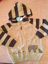 NWT Gymboree Camp Scout Tan Brown Striped Hooded Sweater Bears Paw Prints 2T