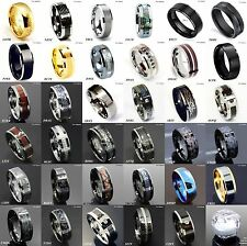 8Mm Gold Black Silver CZ brushed Tungsten Carbide Ring Wedding Band Mens Jewelry
