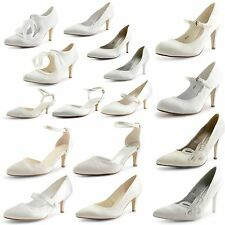 Womens Ladies Kitten Low Heel Ankle Strap Wedding Shoes Bridal Prom Sandals Size