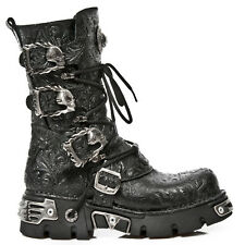 New Rock Skull Buckle Leather Platform Boots - Black - 391-S4 - Gothic,Goth,Punk