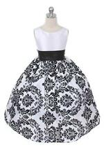 BRAND NEW Sashed Velvet Flocked Floral Taffeta Infant Flower Girl Dress Wedding