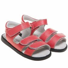 Girls Boys Childrens Toddler Real Leather Sandals Shoes Red - Width Adjustable
