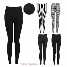 QUALITY LADIES WARM LEGGINGS WOMENS STRETCH STRIPED THICK FLEECE DOGTOOTH LINED
