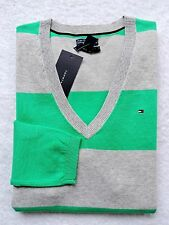 NWT Tommy Hilfiger Womens Gray, Green, Striped, V-Neck Sweater