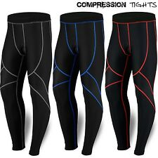 Mens Compression Pants Long Trousers Base Layer Running Tights Black NEW